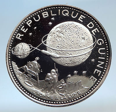 1969 GUINEA Space NASA Moon Landing Antique Proof Silver 250 Francs Coin i74261