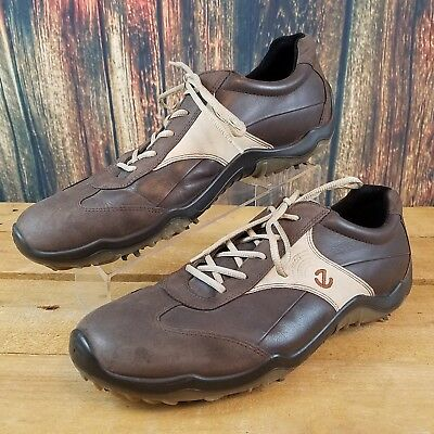 2d0be6b7b4898 ECCO Mens Hydromax Brown Leather Softspike Golf Shoes Size EUR 47 / US 12