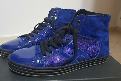 Hogan Rebel Scarpe Sneakers Alte Donna In Pelle R141 Laterale Paillettes 07b6c809759