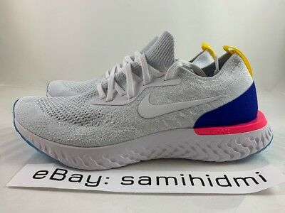 super popular 9974a ed10b Nike Epic React Flyknit OG White Racer Blue Pink NEW AQ0067-101 Size