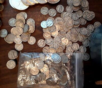 1920's Liberty Winged Mercury Dimes Silver 50 Coin Lot, 1920's W/ mints, 1 Teen