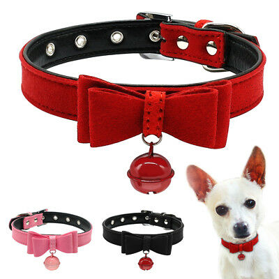 Suede Leather Bow Tie Pet Collar with Bell for Cat Puppy Small Dog Collars XXS-M
