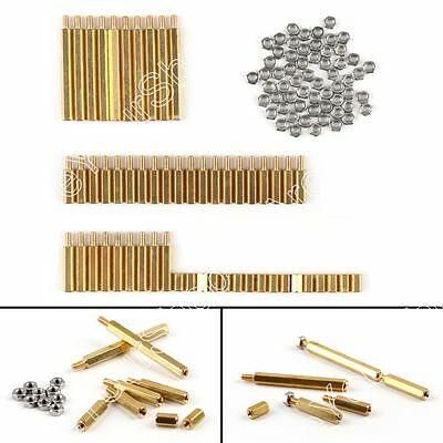 10Set Brass Standoff Hex Spacer Screw Nut M3 kits Pillar + Screw Nut For Car