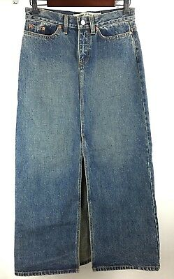 Gap Womens Size 2 Maxi Skirt Denim Blue Jean Long Modest Slit Cotton Boho Casual
