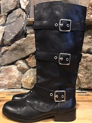 48488553c3c4 COACH Rare Jordann Black Leather Riding Boots Buckles Knee High Sz 11 NWOB