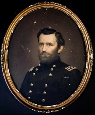 Antique Civil War Dated Oil On Canvas Painting General Grant Oval Frame