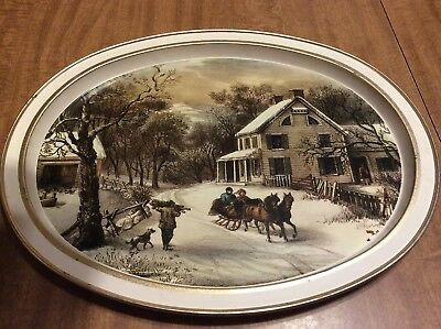 Vintage  The American Homestead Currier and Ives Oval Tin Tray ~ Winter 1868...