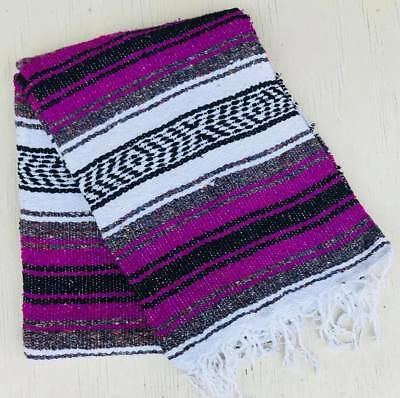 Falsa Handmade & Woven Mexican Blanket Decor Hot Rod Throws Multi Colored