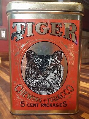 VINTAGE TIGER chewing tobacco large tin, great graphics & colors, very nice!