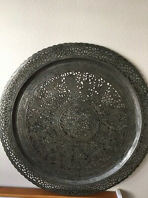 Beautiful set of Two Antique Copper Silver Tone Persian Hand Made Tray