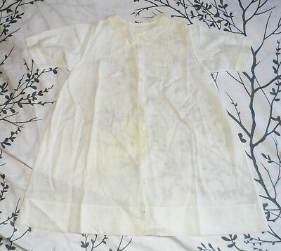 Antique 40s 50s White Peter Pan Collar Baby Infant Gown Dress Pintucked Cherubs