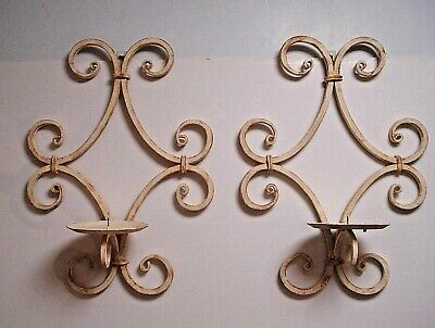 2 Wrought Iron Metal Wall Hanging Candle Holder Sconce distressed white shabby