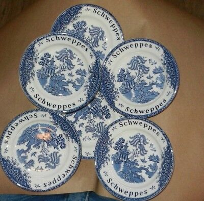"""Lot of 6 Vintage Enoch Woods Blue Willow Schweppes 6"""" Dishes Trinket Wedgewood"""