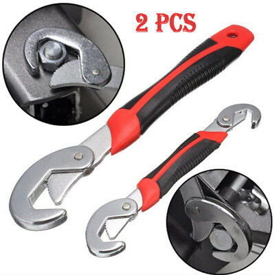 2PCS Multi-FunctIon Quick Adjustable Snap'N Grip 9-32mm Wrench Spanner Tool Set