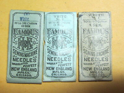 White Old Style Sewing Machine Needles, 3 Packs, 6 Needles, Asst Sizes