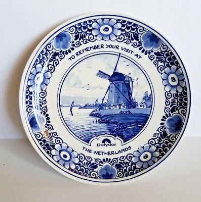 """Vintage Delft Blauw Blue Porcelain Hand Painted Plate Holland Windmill 7"""""""