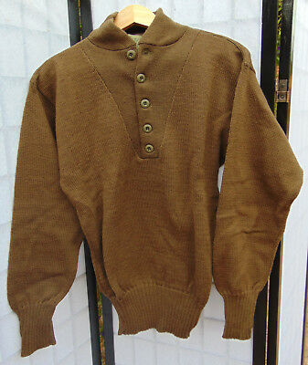 U.S.Military G.I. Brown 100% Wool 5 button fatigue sweater Sz. L., new old stock