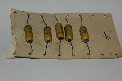 """Lot Of 5 Nos Astron """" Mustard """" .001 @ 600V Tubular Capacitors, Long Leads !"""