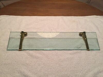 BrassCrafters Antique Vintage Shelf With Brass Brackets, Soap Dish & Cup Holder
