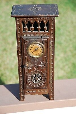 Antique Hand Carved small wooden Armoire Clock Bretagne/ Brittany late 1890-1910