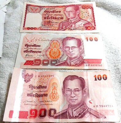 THAI Banknote 100 BAHT 3 Note Of KING RAMA 9 Year 1978,1994,2004 For Collectible