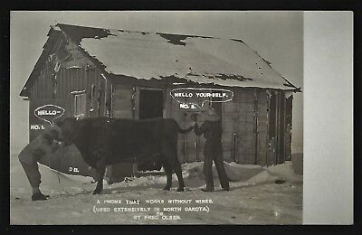 Rppc  Fred Olsen North Dakota Postcard  Wireless Telephone Humor Pc