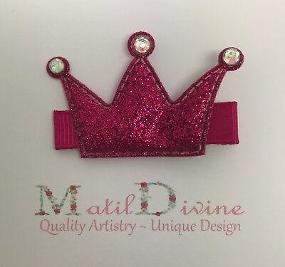 Baby Toddler Girl Non Slip Hair Clip 4.5 cm Hot Pink Princess Crown Glitter