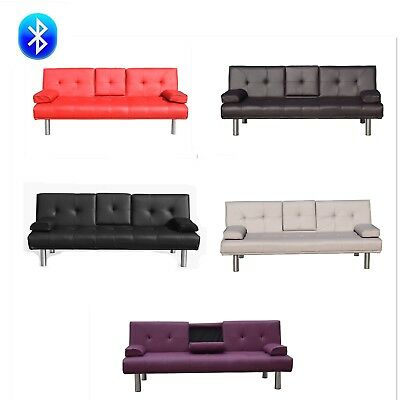 3 Seater Leather Sofa Bed with Bluetooth speaker with cup holder