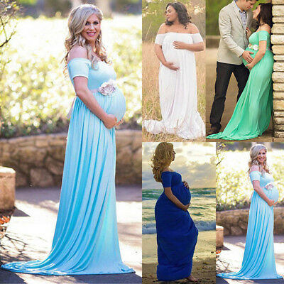 US Pregnant Womens Cotton Gown Maxi Dress Wedding Party Prop Dresses Photography