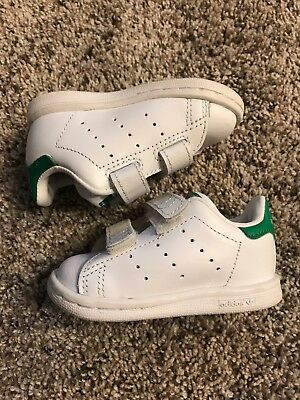 207726f13b5 Adidas Stan Smith CF White Green Size 4K M20609 Velcro Toddler Infant GUC