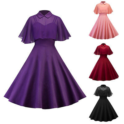 Women 50s 60s Retro Style Swing Dress Formal Party Evening Ball Gown with Cloak
