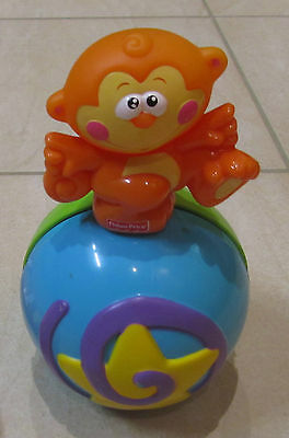 Fisher Price Baby Toy Go Baby Go! Crawl Along Musical Ball w/ Monkey 6+ Months