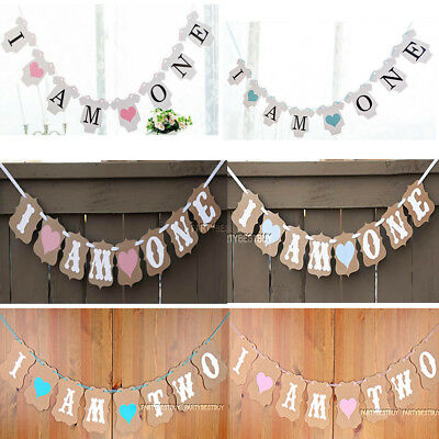 I AM ONE TWO Bunting Garland Banner Baby Girl Boy First 1st 2nd Birthday Party
