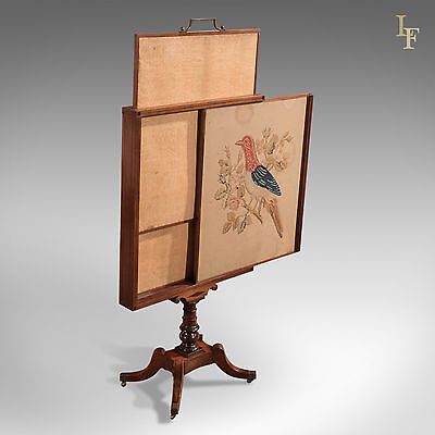 Antique Tapestry Display Stand, Regency Mahogany Needlepoint English circa 1830
