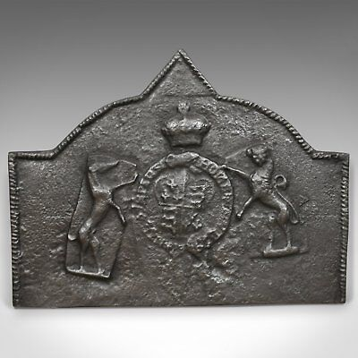 Tudor Revival Cast Iron Fire Back, Royal Crest, Lion, Greyhound, Victorian c1890