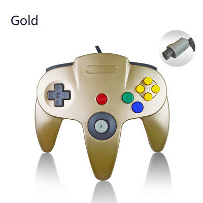 GOLD N64 Wired Controller Long Handle Joystick Gamepad for Nintendo 64 Console