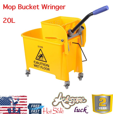 Mini Press Commercial Wet Mop Bucket Wringer 20L 5 gal Combo Yellow Janitorial