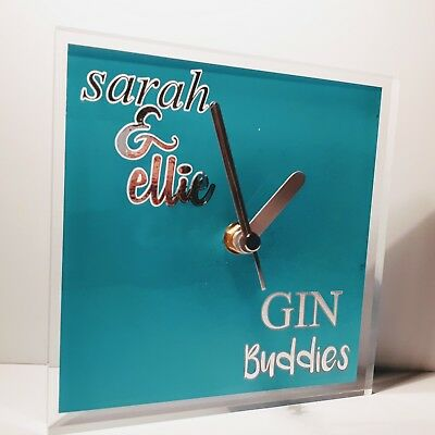 Personalised friends names gin drinks wall clock lounge kitchen 150x150x10mm