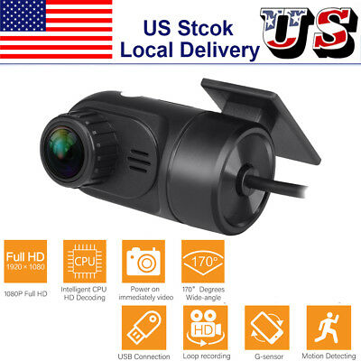 Hidden USB Car DVR Driving Video Loop Recorder Camera HD 1080P 170° Dash Cam US