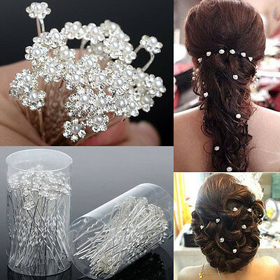 40 PCS Wedding Hair Pins Crystal Pearl Flower Bridal Hairpins Hair Accessorie、3C