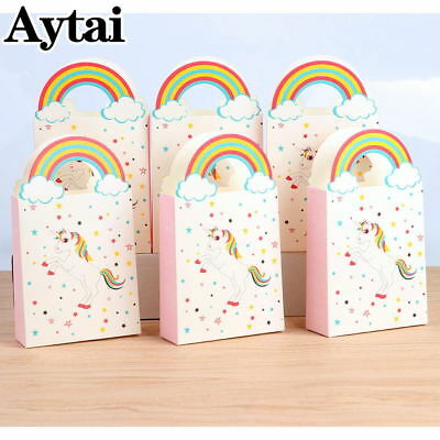 50x Unicorn Paper Party Bags Loot Gift Fillers Goody Bag Handles Pack Candy Box