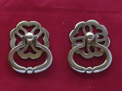 Fancy Ring Pull Brass Handle. Pack of 2.Cupboard Handle. Free P+P