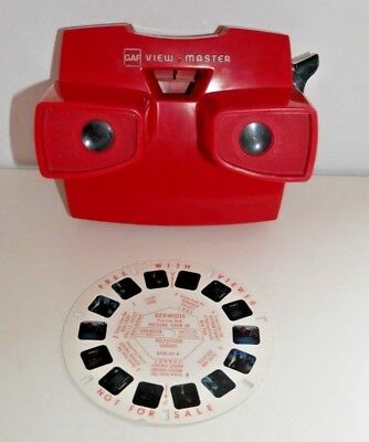 VINTAGE GAF VIEWMASTER STEREO VIEWER RED 70's 80's MODEL J & TV SHOWS REEL  C664