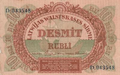 Russia Latvia Latvian Government Currency Note Banknote 10 Rubli Rubles - 1919