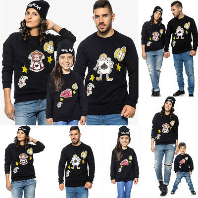 Family Matching Clothes Mom Dad Girls Boys Winter Jumper Sweater Tops Pullover