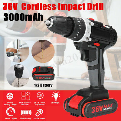 Electric Cordless Impact Drill 36V 3000mAh Chuck 10mm 1/2 Battery 18+3 Clutches
