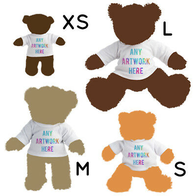 1 Personalised White Teddy Bear Toy T-Shirt Photo Text Logo Name Printed Gift