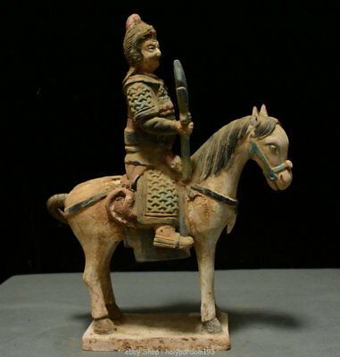 "15"" Chinese Old antique Tang Sancai Porcelain Ancient People Ride Horse Statue"