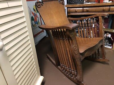 solid oak large rocking chair- vintage-antique