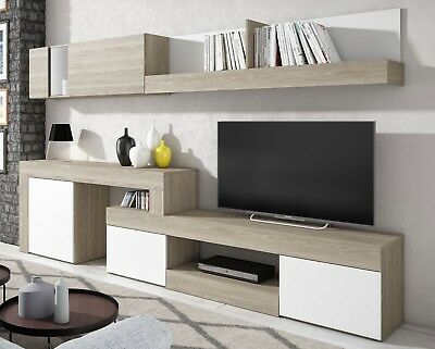 Mueble salon comedor estilo moderno nordico color blanco y sable 295x164x40 cm